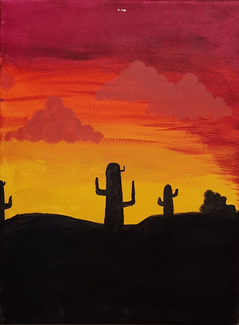 "Emma Wilson 'Cactus Painting' 16"" x 12"" acrylic on canvas"