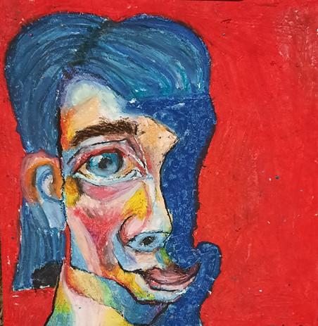 """Melissa Pesch 'Mariner Music Man' 7"""" x 6"""" oil pastels"""