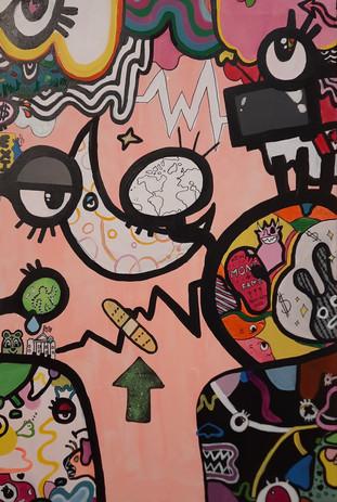 "Evelyn Stevenson 'Interpreting' 24"" x 36"" acrylic on canvas"