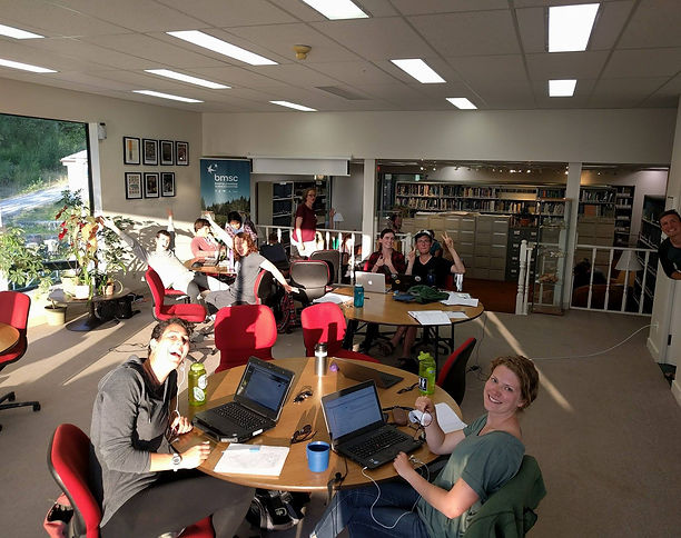 Early in the day at the library in Bamfield (still lots of smiling faces!). (Photo Credit: Emma Atkinson)