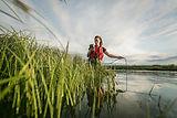 Lia Chalifour taking water quality measu