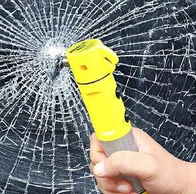 4 in 1 Car Safety Escape (Glass Window Breaker, Emergency Seat Belt Cutter, Flashlight and Warning Light)