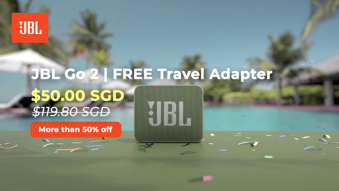 JBL Go 2 | FREE Travel Adapter (More than 50% off)