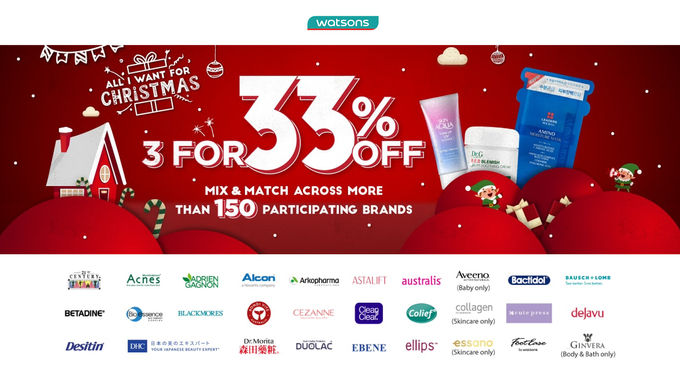 Watsons 3 For 33% Off Promo