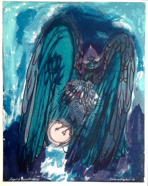 """Angel of Forgetfulness, Stone Lithograph and ink, edition #1 of #10, 21 ½"""" X 18 ½"""", n.d."""
