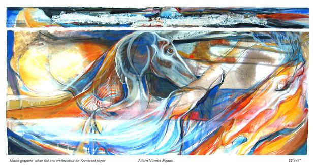 """Adam Names Equus, Watercolour, 22"""" X 44"""", n.d."""