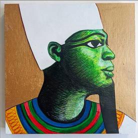 """Osiris, Mixed Media, 6"""" X 6"""", 2020"""