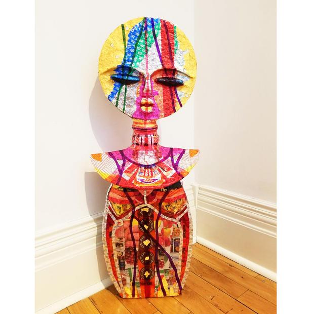 "Asase Yaa, Mixed Media Sculpture, 38"" X 15"" X 8"", 2020"