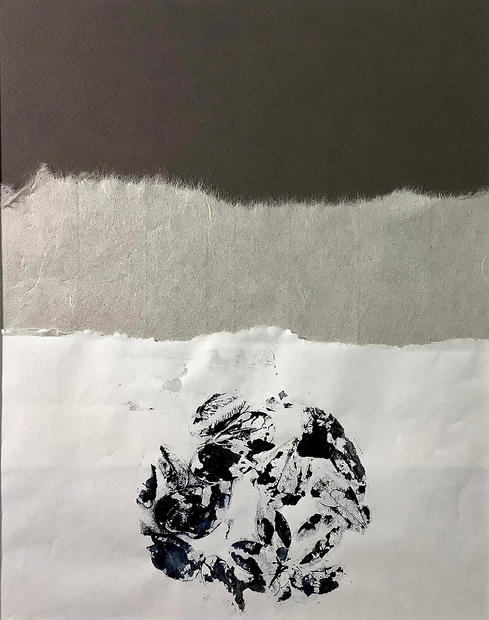 """Dukkha,  The Existence of Suffering, Monoprint and Collage, 16"""" X 20"""", 2018"""