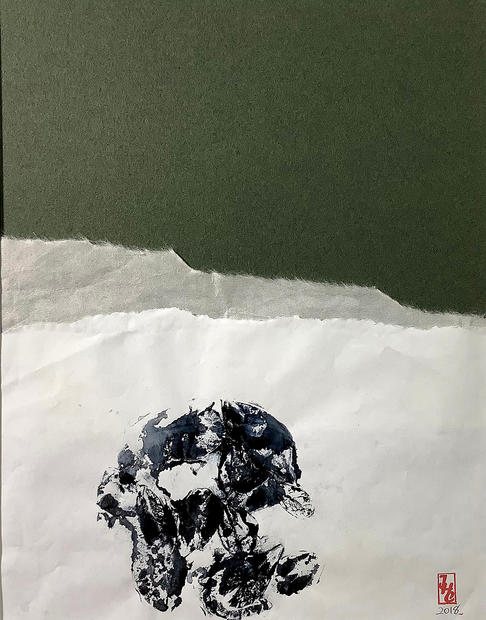 """Samayuda, The Cause of Suffering, Monoprint and Collage, 16"""" X 20"""", 2018"""