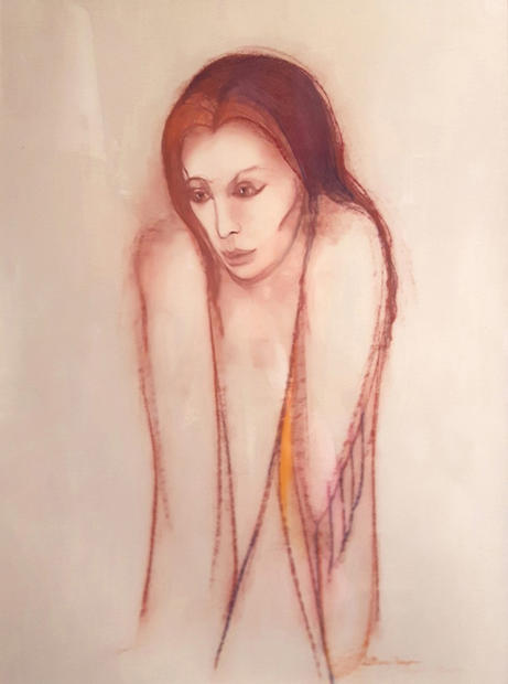"""Angel of Remorse, red conte on paper, 44 ¾"""" X 38"""", n.d."""