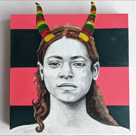 "Priestess of Dhat Badan, Mixed Media, 6"" X 7"", 2020"