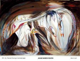 """Adam Names Raven, Watercolour, 30 ¼"""" X 44"""", n.d."""