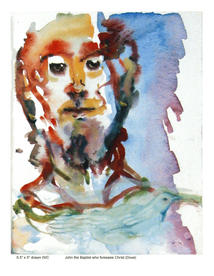 """John the Baptist who Foresees Christ (Dove), Watercolour, 9"""" X 7"""", n.d."""