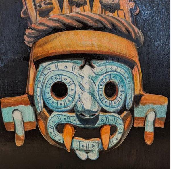 """Tlaloc, Mixed Media, 6"""" X 6"""", 2020"""