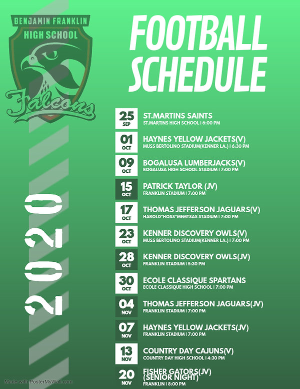 FRANKLIN Football Game Schedule Poster -