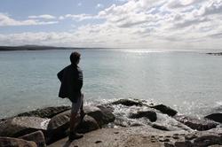 Wyatt overlooking lake