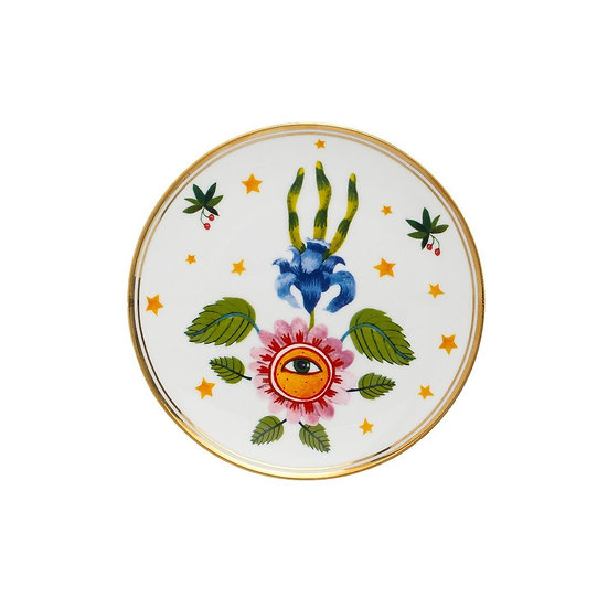Piatto occhio con fiore collezione La tavola scomposta di Bitossi