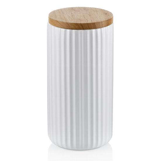 Barattolo ermetico in ceramica bianca con coperchio in legno
