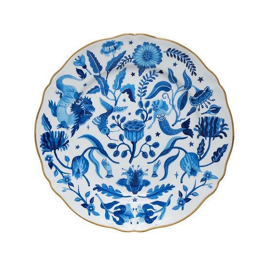 Piatto piano fiori blu collezione La tavola scomposta di Bitossi