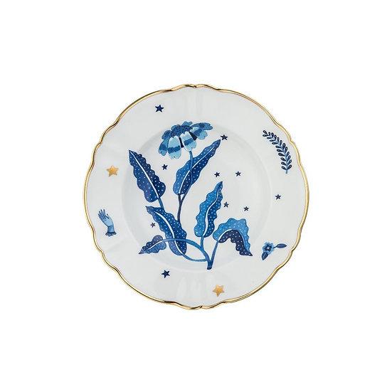 Piatto fondo fiore blu collezione La tavola scomposta di Bitossi