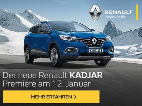 12. Januar: Premiere des Renault KADJAR mit attraktiven Angeboten