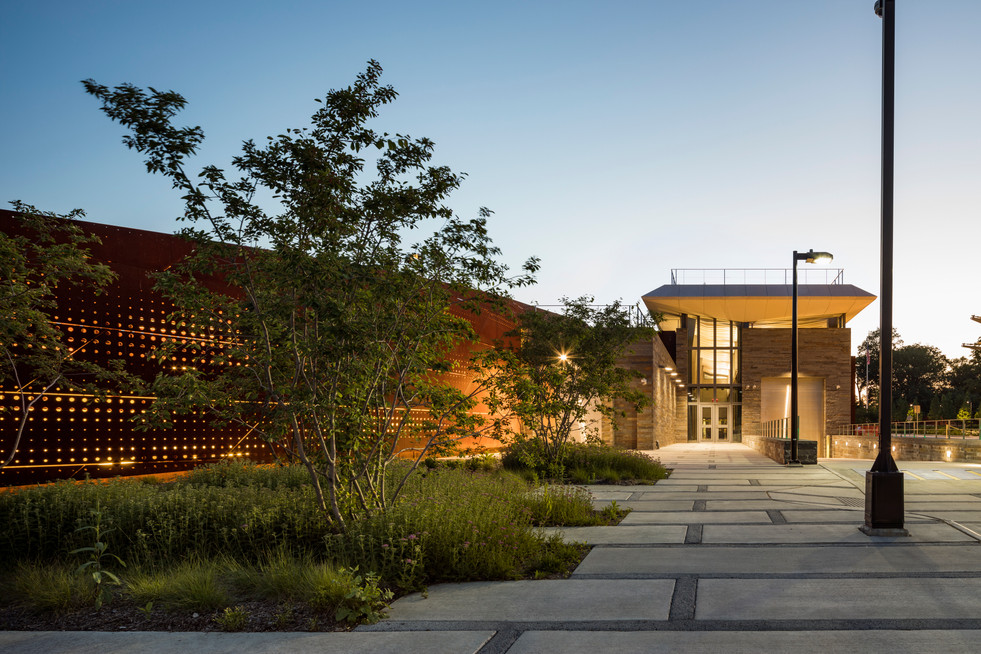 Corten steel at the Arrivals and Receiving Building Croton Water Filtration Plant w/ Grimshaw Architects