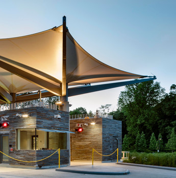 Steel and fabric canopy at Croton Water Filtration Plant with Grimshaw Architects