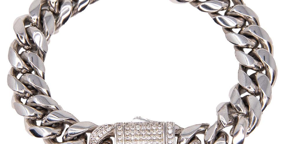 Bracelet cuban link classique 12mm Argent