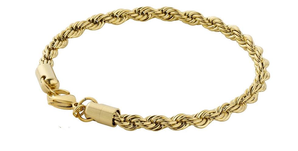 BRACELET ROPE CHAIN GOLD 4MM