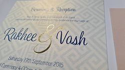 Gold Foiled Bespoke wedding stationery on Conqueror Iridescent Gold dust 300gsm