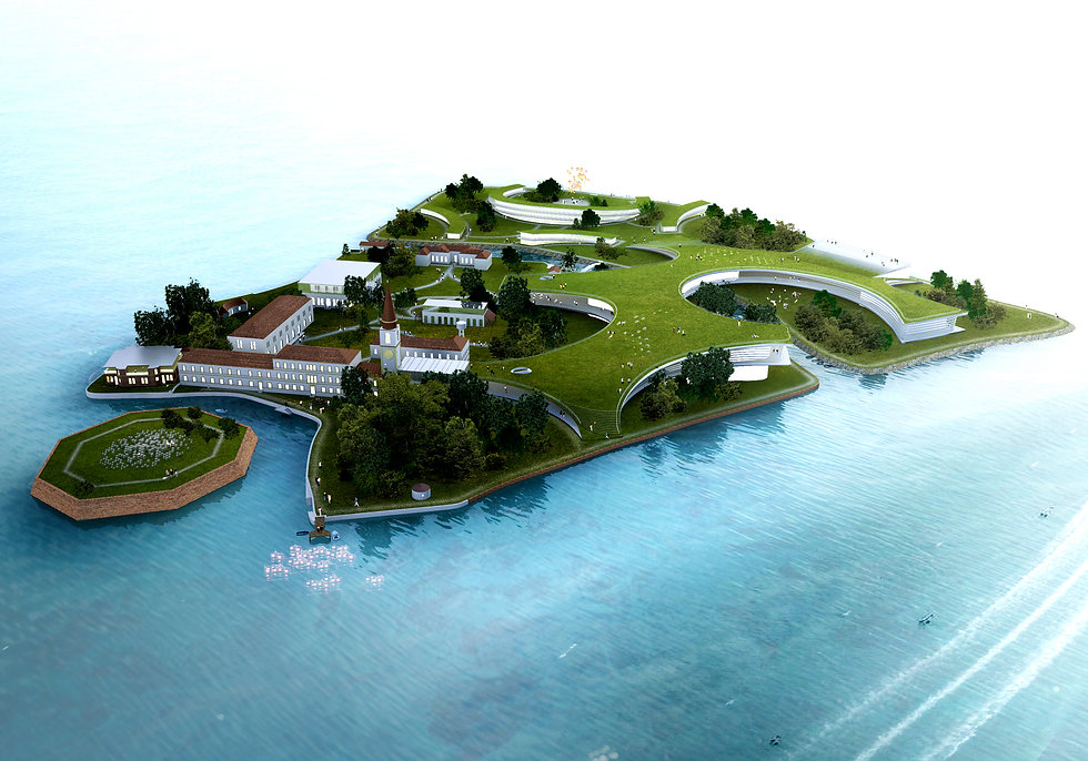 University Island bird's eye view