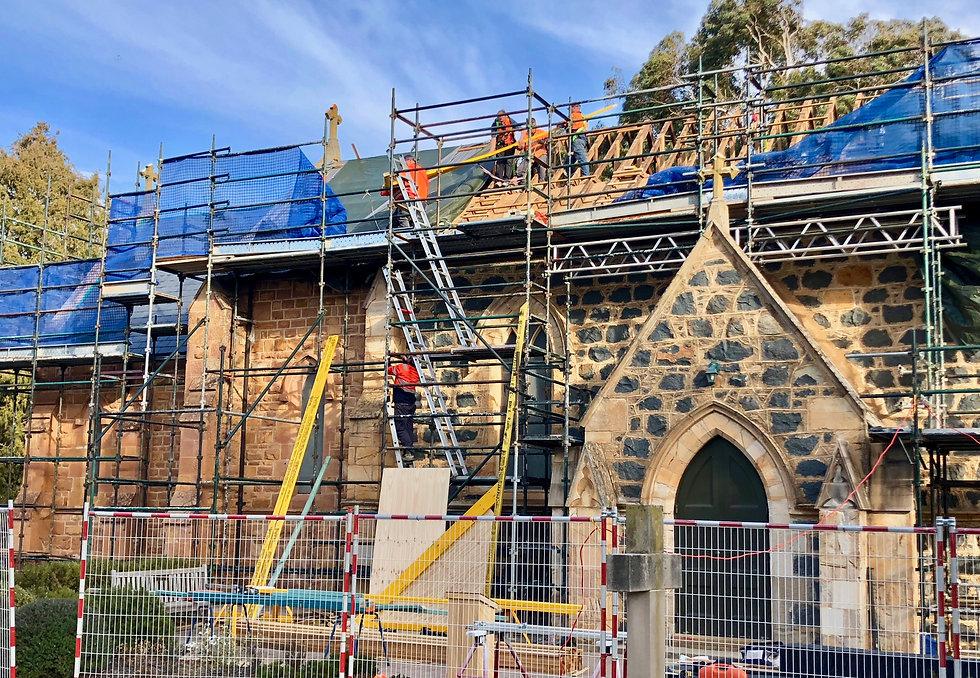 Church asbestos slate roof