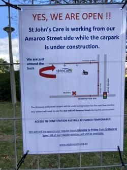 21 Sept - Redirection sign for St John's Care