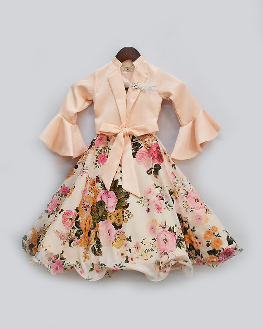 Peach Tie Knotte Top with Floral Print Lehenga