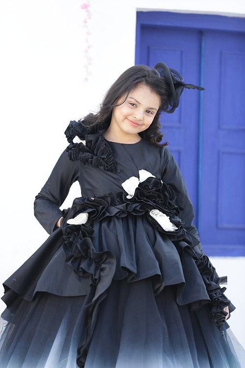 Black/White Ombre Peplum Gown