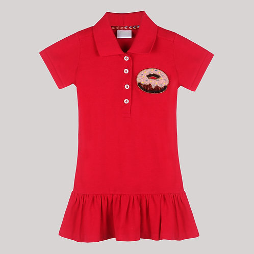Girls Polo Dress In Red With Ruffles At Hem And Donut Motif