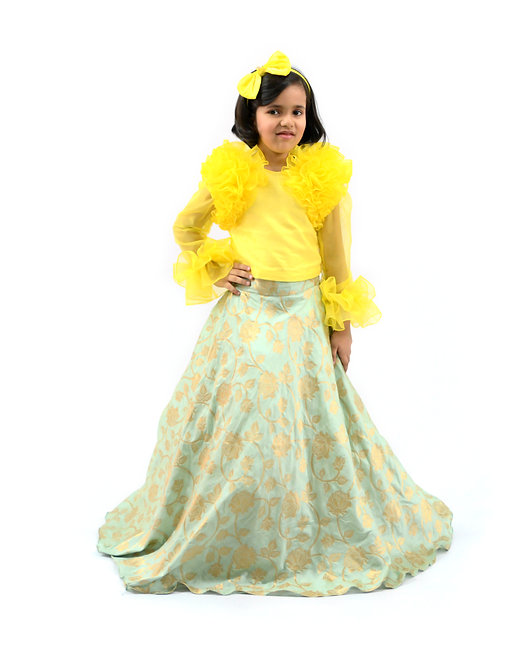 Brocade Skirt and Yellow Frill Top
