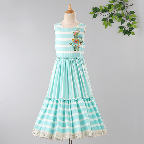 Striper Print Dress With Embroidery & Frill On Bottom-Blue