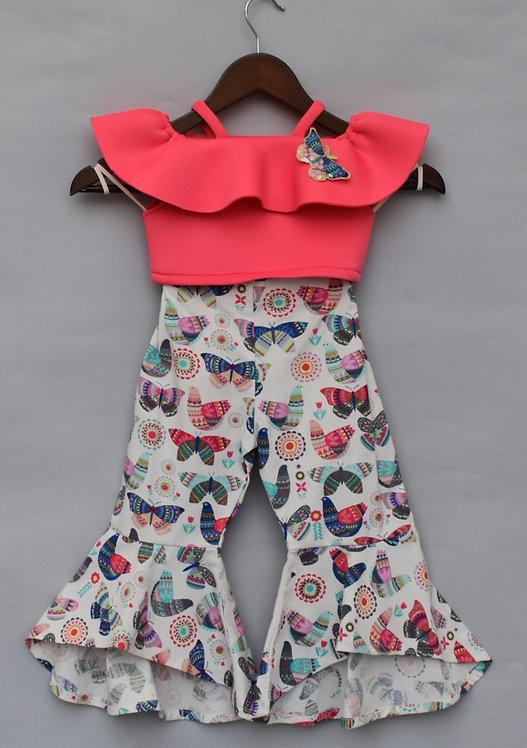 Pink Lycra Crop Top with Printed Pant