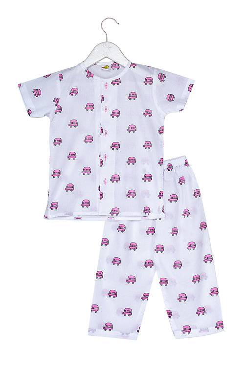 Printed half sleeve nightsuit set Ns Pink Van