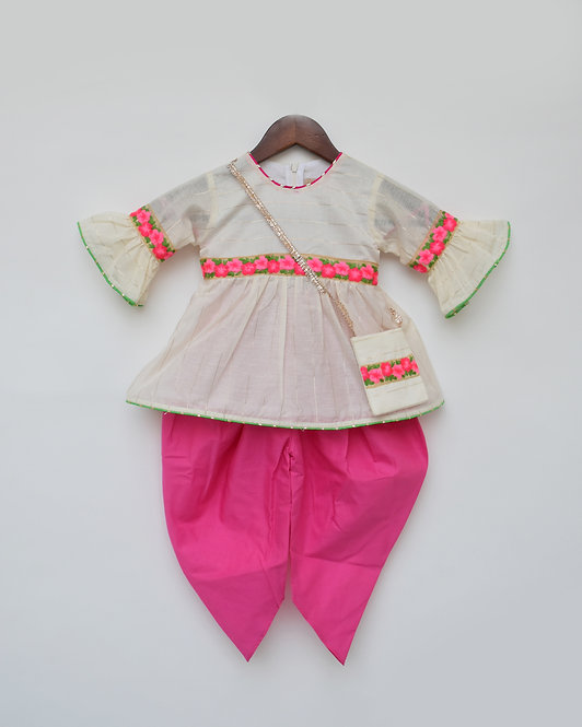 Off white Chanderi Kurti with Pink Dhoti