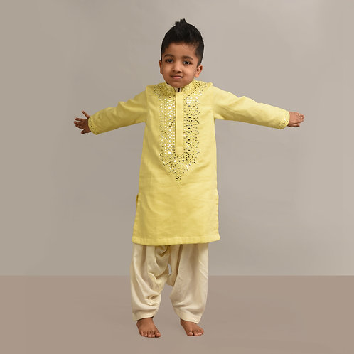 Yellow Mirror Emb Kurta Patiala