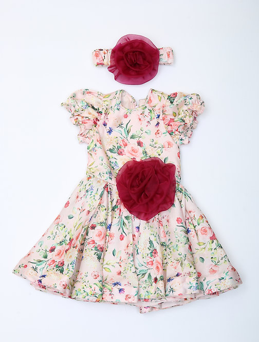 Pink Floral Print Dress with Organza Flower