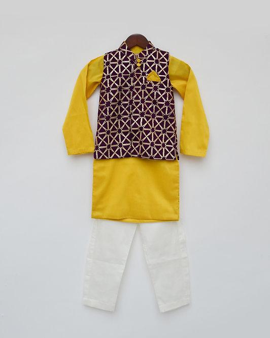 Purple Gota Jacket with Yellow Kurta and Pant