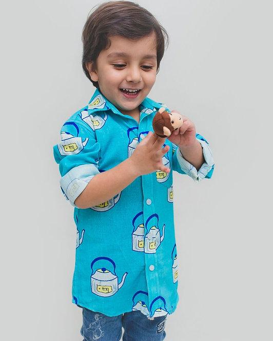 Regular Wear Printed Kids Blue Cotton Shirt
