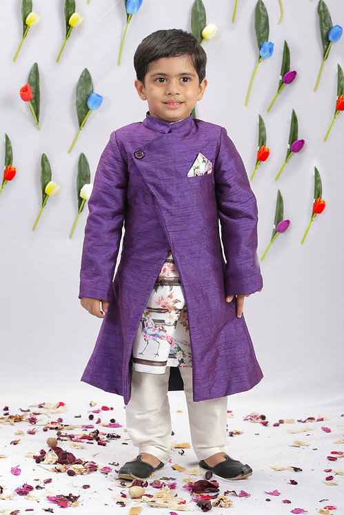 Crane Print Kurta and Jacket Set