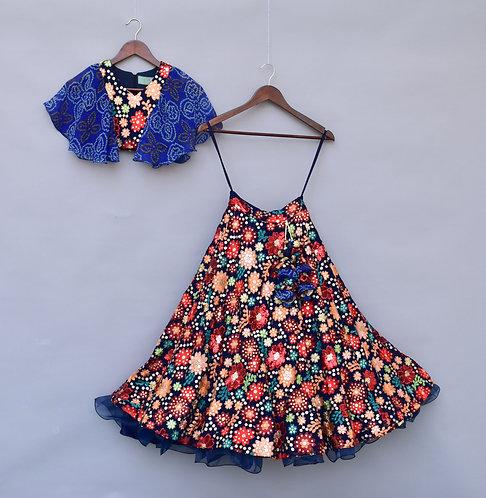 Multi Colour Embroidery Choli Lehenga