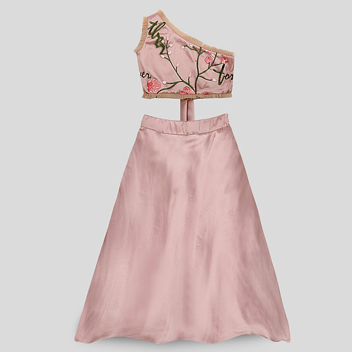 Pink One-Shoulder Embroidered Blouse With Layered Net Skirt