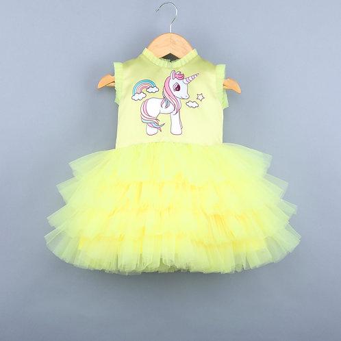 Rainbow Unicorn Yellow Dress